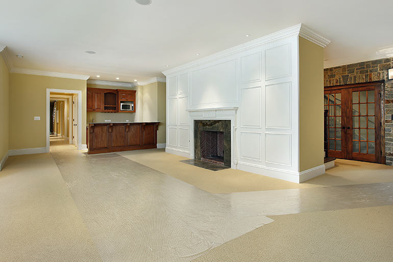 amazing basement renovations with build in fireplace