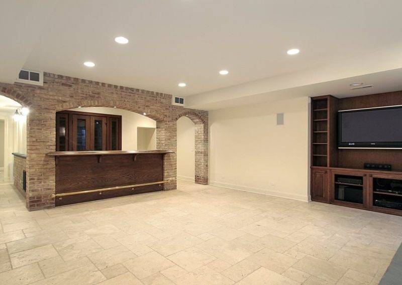 basement finished with bar and wall unit