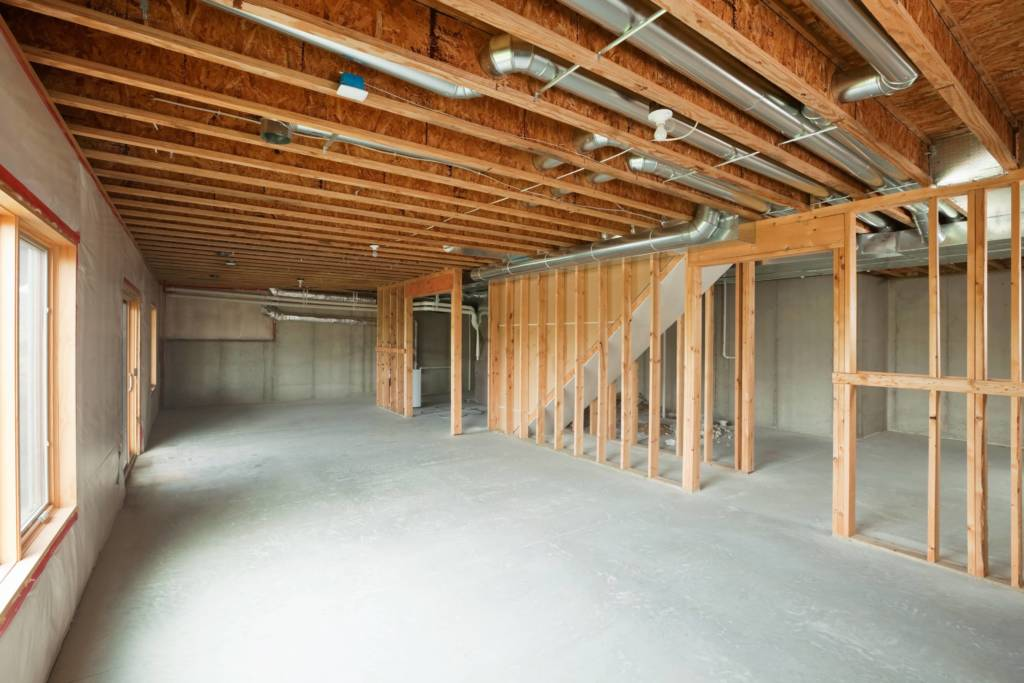 image of basement framing