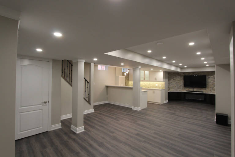 open space basement with kitchen and family room - basement renovations mississauga