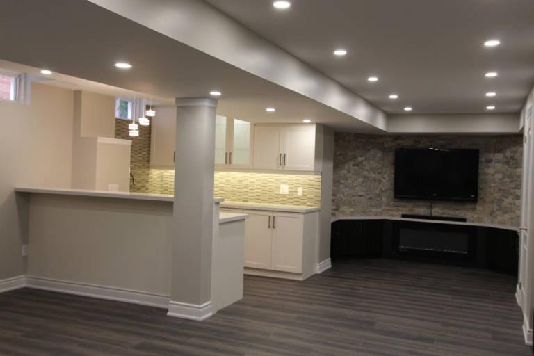multilevel ceiling with potlights in custom basement- basement renovation bradford