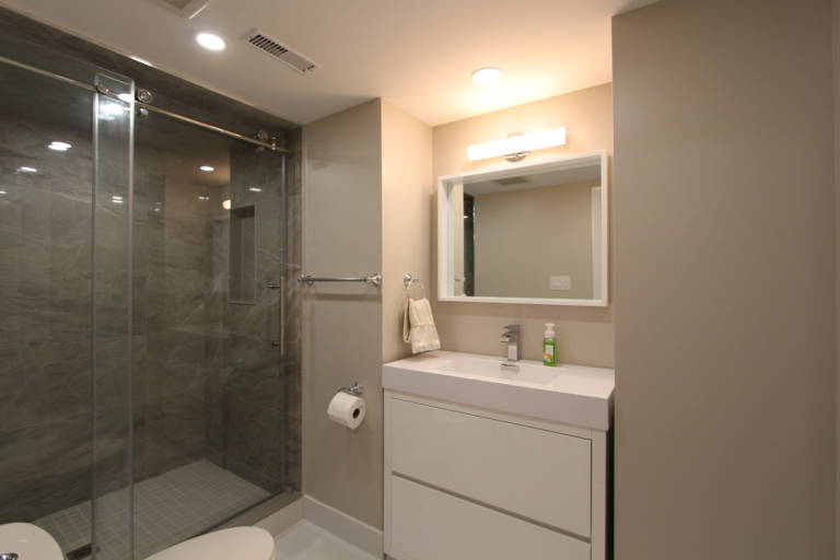 amazing basement remodeling bathroom with walk in shower and two ton pink and white vanity