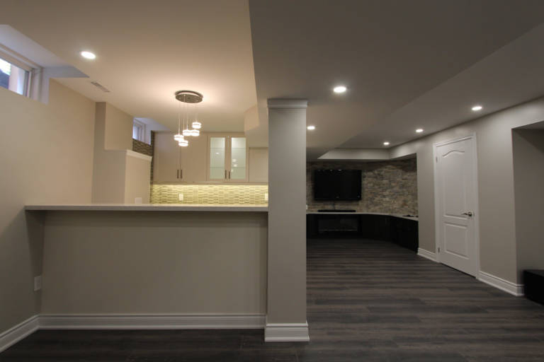 kitchen and family room in open space basement - basement finishing newmarket