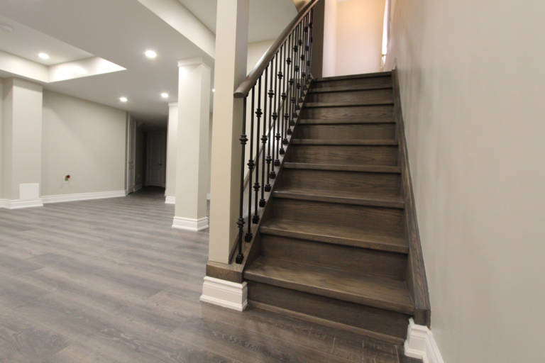 basement staircase made from wood and baseboard trim - renovation company
