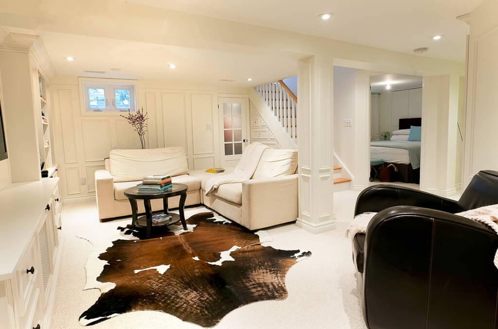 Amazing Living Room in Finished Project of Basement Remodeling