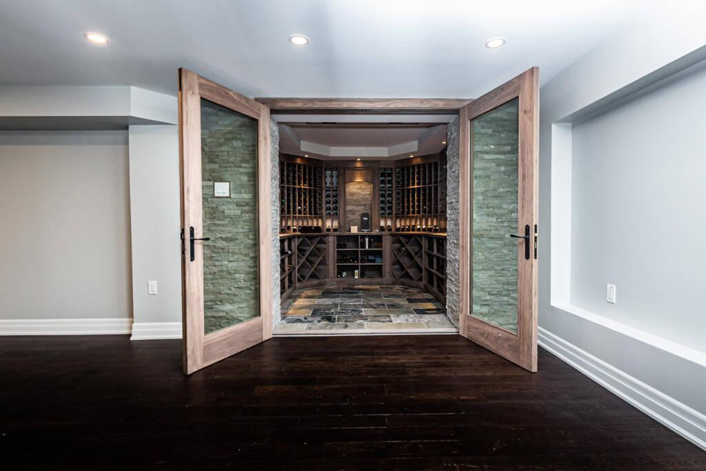 Basement Wine Cellar in Home Renovation Project Etobicoke