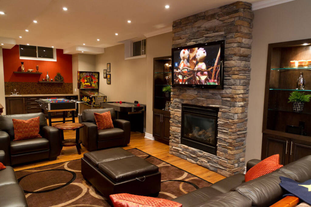 Amazing Family Room in Custom Basement in Maple