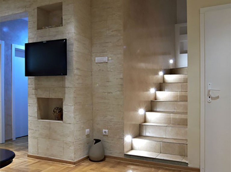 Backlit Stairs in Custom Basement Renovation Project Etobicoke
