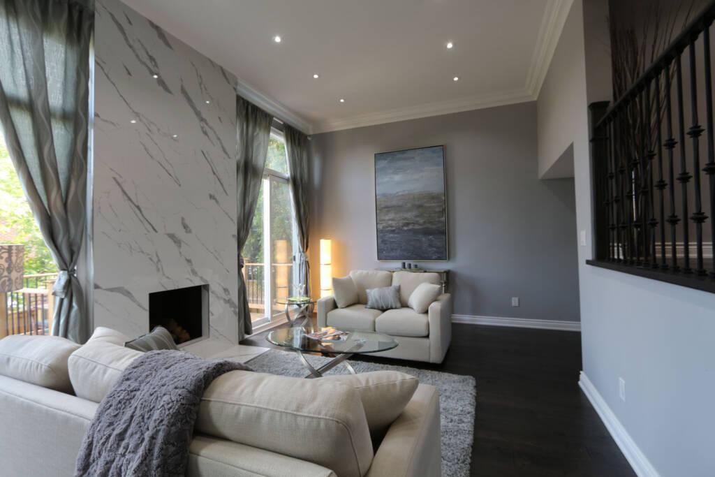 Custom Living Room in Home Renovation Project Innisfil