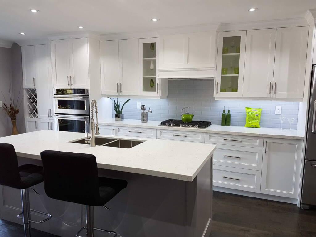 Modern Basement Kitchen with Backlit Kitchen Cabinets - Basement Finishing Orangeville