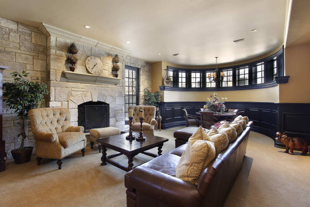 Classic Basement Family Room with Amazing Build in Fireplace - Basement Finishing Company Orangeville