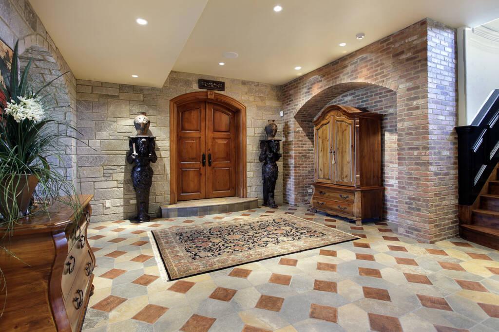 Amazing Basement Design with Brick Wall Decor - Basement Renovation Orangeville